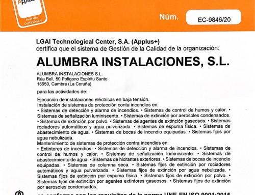 Alumbra implanta un nuevo sistema de gestión de calidad ISO 9001